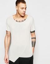 Asos Super Longline T-Shirt In Fine Rib With Asymmetric Hem In Beige