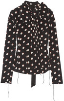 Marc Jacobs Pussy-bow Polka-dot Silk Crepe De Chine Blouse - Black