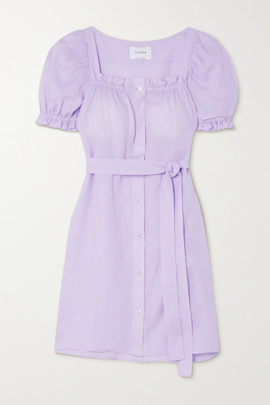 Sleeper Brigitte Belted Linen Mini Dress - Lavender