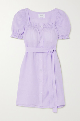 Sleeper Brigitte Belted Linen Mini Dress