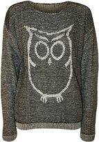 WearAll Women's Owl Long Sleeve Knitted Jumper - Gray - US 4-6 (UK 8-10)