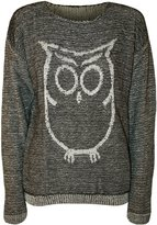 WearAll Women's Owl Long Sleeve Knitted Jumper - Gray - US 8-10 (UK 12-14)