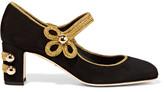 Dolce & Gabbana Embellished Suede Mary Jane Pumps - Black