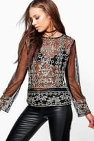 boohoo Leah Sequin Mesh Long Sleeve Top black
