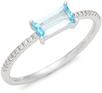 Saks Fifth Avenue 14K White Gold, Blue Topaz Diamond Ring