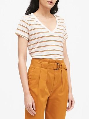 Banana Republic Stripe Linen V-Neck T-Shirt