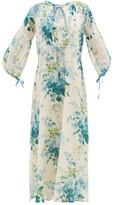 D'Ascoli Clarita Drawstring Floral-print Cotton Maxi Dress - Womens - Blue Print