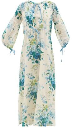 D'Ascoli Clarita Drawstring Floral-print Cotton Maxi Dress - Blue Print