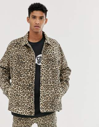 Cheap Monday oversize denim jacket with cheetah print-Stone