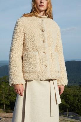 Mansur Gavriel Furry Cashmere Short Jacket - Creme