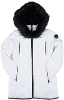 Point Zero White & Black Faux Fur-Trim Longline Puffer Jacket