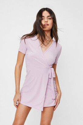 Nasty Gal Womens Wrap Mini Dress with V-Neckline - Lilac