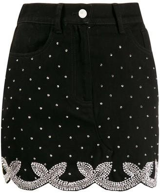 Wandering Crystal Embellished Mini Skirt