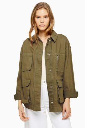 Topshop Womens Khaki Longline Jacket - Khaki