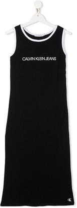Calvin Klein Kids TEEN logo printed tank top dress