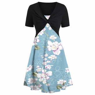 TWIFER Fashion Women Short Sleeve Bow Knot Bandage Top Sunflower Print Mini Dress Suits Casual Comfy Soft Solid Floral Slouchy Swing Dress Sundress(Sky Blue UK-16/CN-2XL)