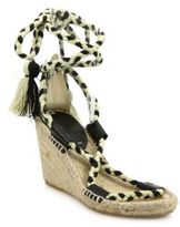 Soludos Leather & Textile Lace-Up Espadrille Wedge Sandals