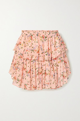 LoveShackFancy Tiered Ruffled Floral-print Silk-chiffon Mini Skirt - Blush