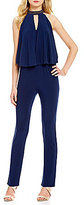 Laundry by Shelli Segal Beaded Neck Sleeveless Popover Jumpsuit
