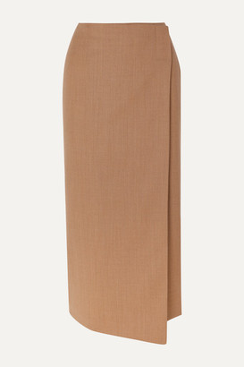 La Collection - Augusta Wool-blend Wrap Midi Skirt - Camel