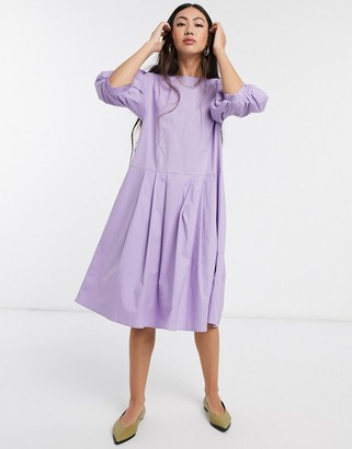 Selected puff sleeve dress with drop waist in purple