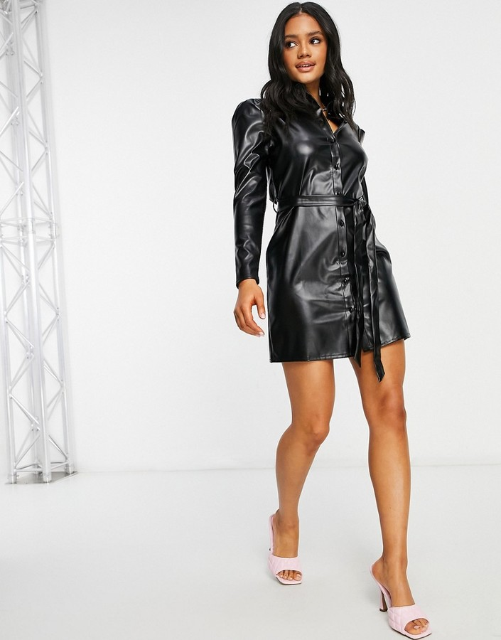 Parisian leather-look shirt dress with tie waist in black