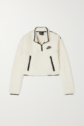 Nike Cropped Jersey-trimmed Fleece Sweatshirt - Ivory