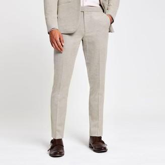 River Island Mens Ecru skinny suit trousers