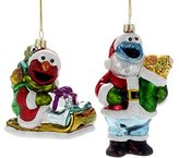 Kurt Adler 1 Set 2 Assorted Sesame Street Elmo And Cookie Monster Glass Christmas Ornaments