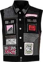 Topman Topman Design Black Denim Sleeveless Jacket