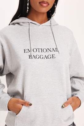 I SAW IT FIRST Grey Emotional Baggage Oversized Hoodie