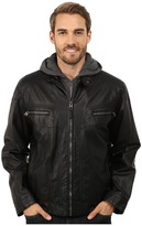 Calvin Klein Faux Leather Hoodie Jacket