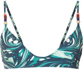 Stella McCartney marbled swirl bikini top - women - Polyester/Spandex/Elastane/Polyimide - XS