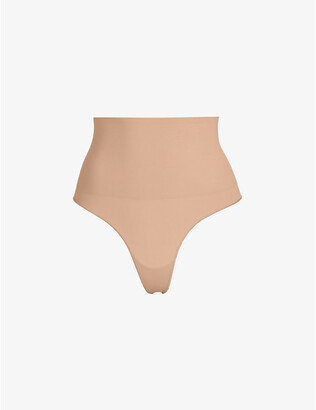 SKIMS Ladies Beige Kim Kardashian West Core Cont Thong, Size: L/XL