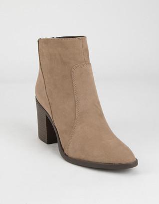 Qupid Block Heel Womens Taupe Booties