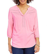 Intro Y-Neck 3/4 Sleeve Solid Peasant Top