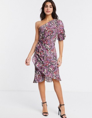 Stevie May andromeda one shoulder mini dress in paisley