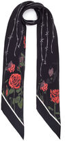 Rockins Black Roses Silk Skinny Scarf