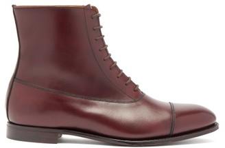 Crockett Jones Crockett & Jones - Olivia Almond-toe Lace-up Leather Ankle Boots - Burgundy