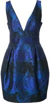 Nicole Miller pleated detail V-neck dress - women - Cotton/Polyester/Spandex/Elastane - 10
