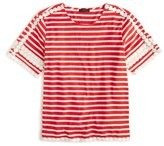 J.Crew Lace Embroidered Stripe Top