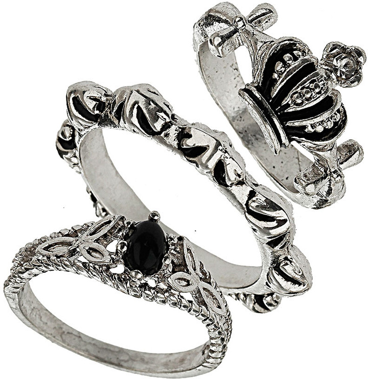 Topshop Crown Bead Ring Stack