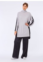 Amanda Wakeley Grey & Black High Neck Long Jumper With Pleated Back Detail