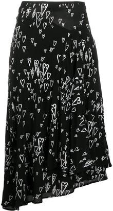 Diesel Asymmetric Heart-Print Midi Skirt