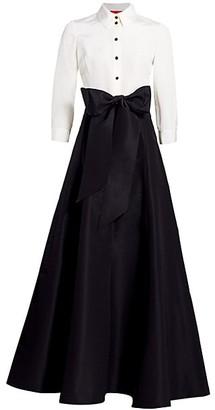 Carolina Herrera Icon Contrast Silk Trench Dress