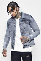 boohoo Distressed Bleach Wash Denim Jacket grey