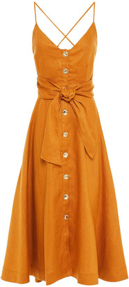 Nicholas Orissa Open-back Bow-detailed Linen Midi Dress