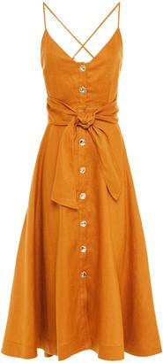 Nicholas Orissa Tie-detailed Linen Midi Dress
