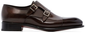 Santoni Double Strap Leather Monk Shoes