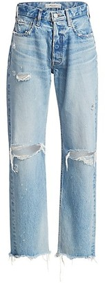 Moussy Odessa Distressed Wide Straight-Leg Jeans